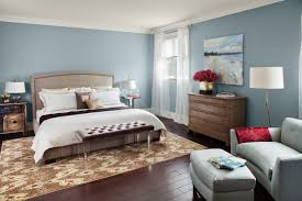 lovely bedroom decoration with sky blue wall painting design ideas