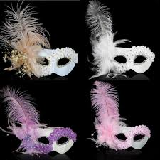 halloween masquerade mask women venice pearl feather party face masks masquerade masks