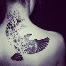 b w inked back tattooed wings tree i really