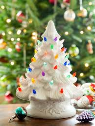 ceramic christmas tree ceramic christmas tree with colorful plastic bulbs