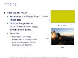Pixel Size Of Business Card 1 The Math Of Printing U0026 Imaging Copyright Texas Education