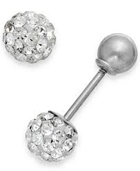 white gold earrings studs children s reversible stud earrings in 14k white gold