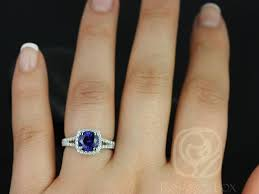 Diamond Cushion Cut Ring Rosados Box Pasley 7mm 14kt White Gold Round Blue Sapphire And