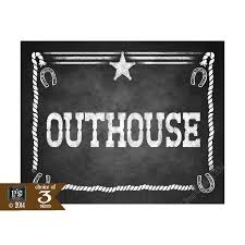 western themed bathroom outhouse signs chalkboard style