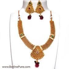 ethnic necklace design images Ethnic necklace in triangle design golden kundan necklace hayagi jpg