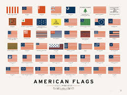 Us Flag Stripes Number An Art Print Featuring The Evolution Of American Flags Throughout
