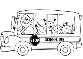 bus with happy children coloring page free printable