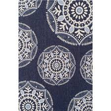 Outdoors Rugs by Hampton Bay Coastal Medallion Blue 7 Ft 5 In X 10 Ft 8 In