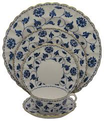 spode blue colonel gold 5pc place setting