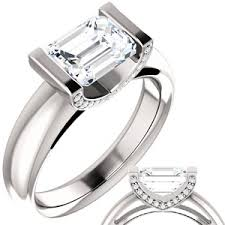 engagement rings emerald cut emerald cut moissanite diamond east west engagement ring