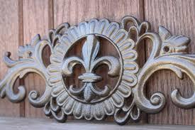 Fleur De Lis Wall Sconce Cast Iron Fleur De Lis Applique Swag Pediment Scroll Metal Wall