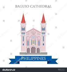 baguio cathedral philippines flat cartoon style stock vector