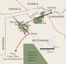Botswana Map Botswana And Victoria Falls Private Journey Itinerary U0026 Map