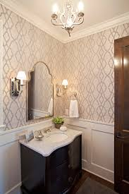 delta cassidy bathroom farmhouse with chandelier curved cabinet