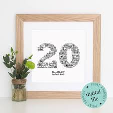 20th wedding anniversary gift ideas 20th anniversary gift word printable gift 20 year