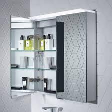 photec double door aluminium bathroom mirror cabinet w725 x h750mm