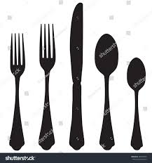 black silhouette fork knife spoon vector stock vector 287640956