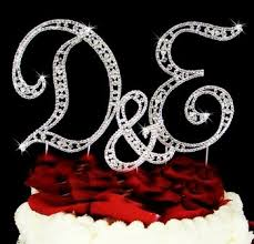 wedding cake toppers letters vintage style swarovski rhinestone monogram wedding cake
