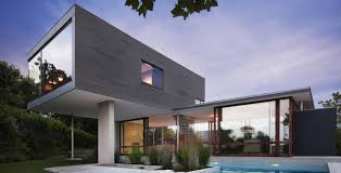 modern grey nuance of the exterior design of the modern windows