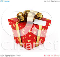 clipart 3d red gift box with gold christmas tree patterns and a