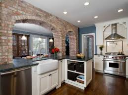exposed brick kitchen backsplash cream large tile flooring red