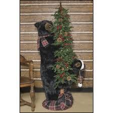 Black Bear Christmas Tree Ornaments by Ditz Pre Lit Christmas Tree Black Bear Wearing Plaid Scarf