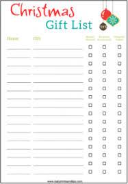 gift list christmas gift list printable