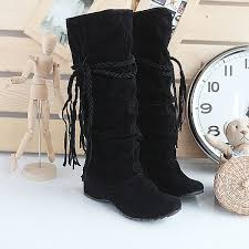womens mid calf boots size 9 elevated tassel wedge heel s mid calf boots shoes