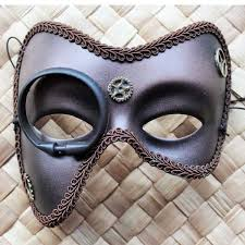 steunk masquerade mask brown steunk masquerade mask with monocle and gears 2 tahlia s