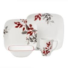 boutique kyoto leaves 16 pc dinnerware set corelle