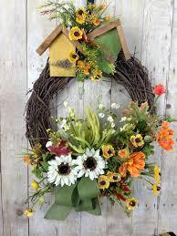 summer front door wreath spring door wreath sunflower door