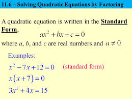 a quadratic equation is written in the standard form ppt video