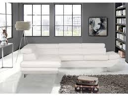 salon canape canapé d angle convertible gauche 5 places loft coloris blanc en pu