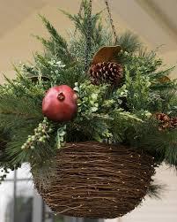 christmas hanging baskets with lights led mixed pine hanging basket balsam hill uk