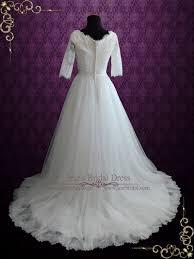 half lace wedding dress modest princess style lace wedding dress with half sleeves