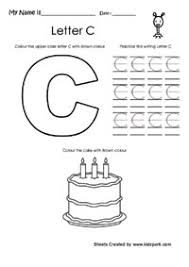 read color and write the alphabet c lower and upper kg english