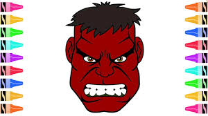 how to draw red hulk coloring pages kids learn drawing art