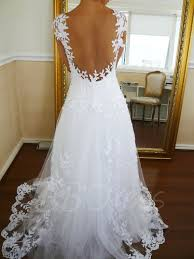 backless wedding dresses cap sleeve a line appliques backless wedding dress tbdress