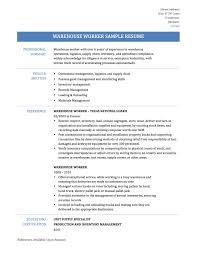 Resume Objective For Warehouse Worker Download Sample Warehouse Resume Haadyaooverbayresort Com