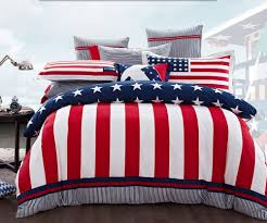 Blue White And Black Flag Pottery Barn Usa Flag Themed Bedding Set With Red Blue White