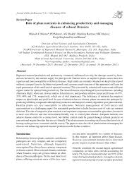 Plant Disease Journal - role of plant nutrients in enhancing productivity and managing