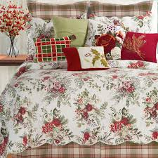 Country Quilts And Bedspreads Jardin Rouge Floral Holiday Quilt Bedding
