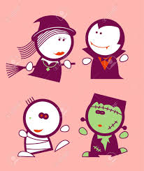 set of halloween funny peoples icons royalty free cliparts