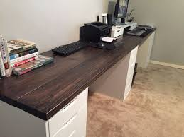 Wood Desk Ideas 10 Ft Wood Office Desk I Used 2x8x10 Pine Wood And Ikea