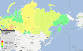 russia map by population russia map of russia population map by respublika kray oblast