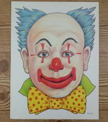 vintage die cut out paper clown mask poster wall art halloween