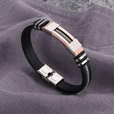 men bracelet style images 2018 stainless steel silicone black bracelet men wristband punk jpg