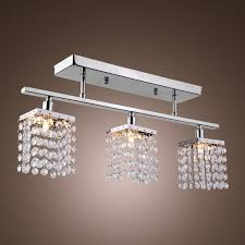linear flush mount ceiling light 3 light hanging crystal linear with solid metal fixture modern