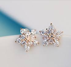 ear studs womens fashion rhinestone snowflake ear studs
