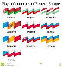 Flags Of European Countries Flying Flags Of Eastern Europe Countries In Waves Stock Vector